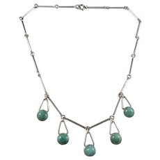 Ceson, Sweden 1960s Solid Silver Green Hardstone Necklace.
