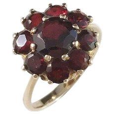 Mid Century 14k Gold Garnet Cluster Ring. Size 7