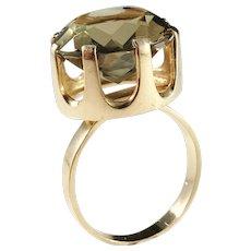 Bengt Hallberg, Sweden year 1975 Modernist 18k Gold Quartz Ring. Excellent