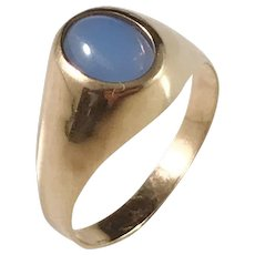 Swedish import 1960s, 18k Gold Chalcedony Ring