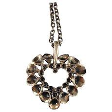 Hannu Ikonen Finland 1970s Sought After Reindeer Moss Design Bronze Heart Pendant Necklace
