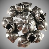 Kaplan, Stockholm year 1956 Mid Century Solid Silver Floral Brooch.