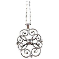 C.C. Christensen, Denmark 1893-1937 Solid Silver Pendant Necklace.