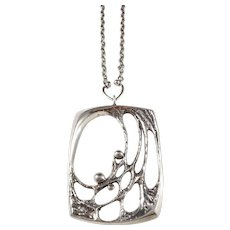Sten & Laine Finland year 1975 Large Sterling Silver Spider Web Pendant Necklace.