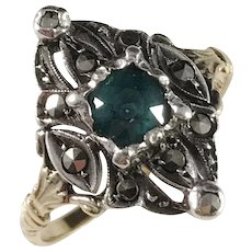 Antique Edwardian 18k Gold Paste Marcasite Ring.