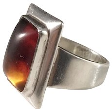 Niels Erik From, Denmark Mid Century Sterling Silver Amber Ring.