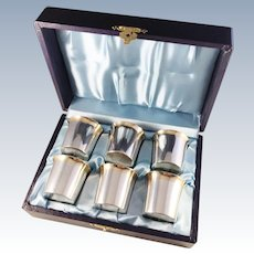 Markströms, Sweden 1951-53 Mid Century Solid Silver Liquor Beakers. Boxed.