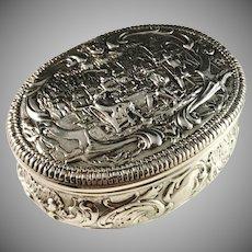 Georg Roth, Hanau. Large Solid Silver Trinket Jewelry Snuff Box. Import England y 1903. 141gram