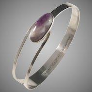 Erik Granit, Finland year 1963, Solid Silver Agate Open Close Bangle Bracelet.