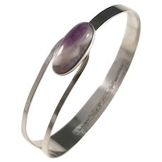 Erik Granit, Finland year 1963, Solid Silver Agate Open Close Bangle Bracelet.