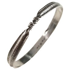 Bengt Hallberg Sweden Vintage Sterling Silver Viking Copy Bangle Bracelet.