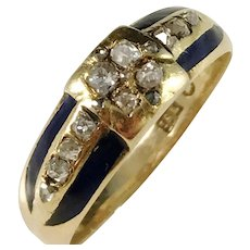 CF Carlman, Stockholm year 1867, Victorian 18k Gold Rose/Old Cut Diamond and Dark Blue Enamel Ring