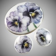 Axel Bergdahl, Sweden year 1917, Antique Solid Silver Painted Porcelain Violets Brooch and Buttons