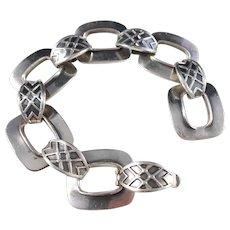 Just Andersen, Denmark Chunky Mid Century Modern Sterling Silver Bracelet.