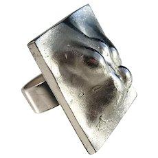 Björn Weckström Lapponia Finland year 1969 Bold Sterling Silver Ring. Space Silver Series