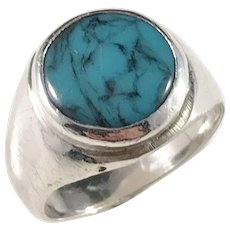 Mexico Mid Century Modern Crown Maker's Mark Sterling Silver Turquoise Ring