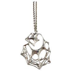 Large Karl Laine, Finland 1970 Spider Web Solid Silver Pendant Necklace.