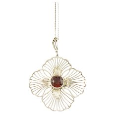 Mid Century Solid Silver Citrine Pendant Necklace. Swedish Import. Germany or Austria.