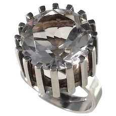 Bengt Hallberg, Sweden year 1973 Modernist Sterling Silver Rock Crystal Ring.