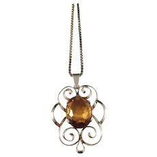 Wilhelm Harbeck, Stockholm year 1949 Mid Century Gold Washed Solid Silver Citrine Pendant Necklace.