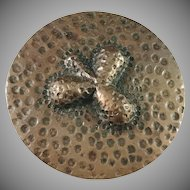 Antique Art Nouveau Jugend Copper Brooch.