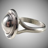 Niels Erik From, Denmark 1960s Rare Modernist Sterling Silver Ring.
