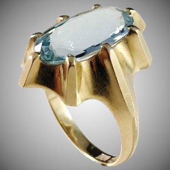 Modernist 18k Gold  Topaz Ring. Maker's Mark