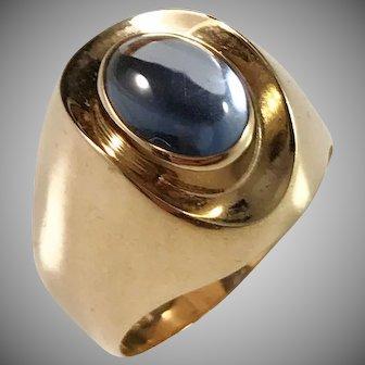 Ekström, Sweden year 1958 Mid Century Modern 18k Gold Cabochon Synthetic Spinel Ring. Excellent.