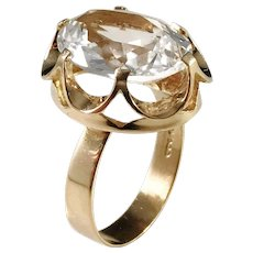 Örneus, Stockholm year 1972, Modernist 18k Gold Rock Crystal Ring. Excellent.