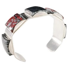 Stenlya, Sweden year 1966 Chunky Modernist Sterling Silver Iron Ore Open Bangle Bracelet.