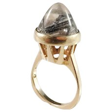 Johan Petersson, Stockholm 1965 Modernist 18k Gold Tourmalinated Quartz Pinky Ring