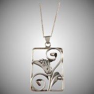 C Brumberg Hansen, Denmark 1937-1950 Solid 830 Silver Flower Pendant Necklace