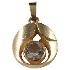 Karl Laine, Finland Vintage 18k Gold Rock Crystal Pendant.