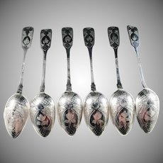 Fyodor Ivanov, Moscow year 1869 Imperial Russian Solid Silver Niello Tea Spoons.