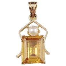 Ceson, Sweden 1950s Mid Century 18k Gold Citrine Cultured Pearl Pendant.