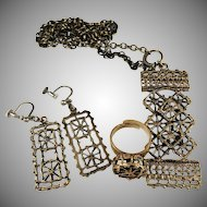 Pentti Sarpaneva Finland 1960-70s Bronze Set of Ring, Earrings and Pendant Necklace.