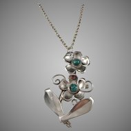 Mexico Large Sterling Silver Turquoise Pendant w Chunky Chain. Poss Brooch Conversion. Hallmarked