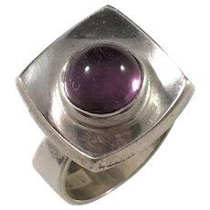 Alton Sweden year 1969, Sterling Silver Amethyst Modernist Ring.