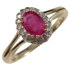 Anderssons Gravyr & Guldsmedsverk, Sweden Vintage 18k Gold Diamonds and Synthetic Pink Sapphire Ring.