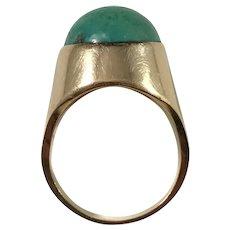 Svedbom, Sweden year 1970 Modernist 18k Gold Turquoise Ring.