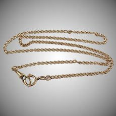 """Antique Edwardian 18k Gold Watch Chain Necklace. Bolt Ring and Clasp. 20"""""""