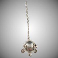 F Juhls Kautokeino, Norway Vintage 830 Silver Lapland Traditional Troll-Ball Pendant Necklace.