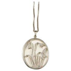 Sweden 1940s Sterling Silver Flower Pendant Necklace.