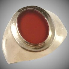 Ceson, Sweden year 1960, 18k Gold Carnelian Pinky Ring.