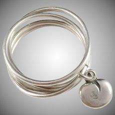 Kalevala Koru, Finland Vintage Sterling Silver Love Heart Ring.