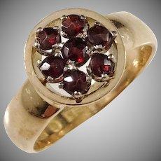 J Bokström, Sweden year 1923, 18k Gold Garnet Cluster Ring.
