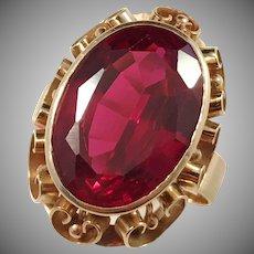 Raimo Rekola, Lahden Korutyö, Finland 1960s Modernist 14k Gold Large Synthetic Sapphire Ring.