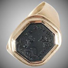 Fyrwald and. Selinder, Stockholm year 1804, Georgian 18k Gold Onyx Signet Ring.