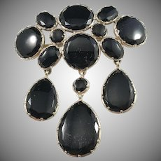 Antique Edwardian Jet Solid Silver Large Mourning Brooch w Removable Drops.