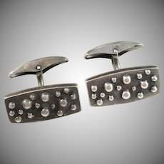 Turun Hopea Finland year 1963 Modernist Solid Silver Cufflinks.